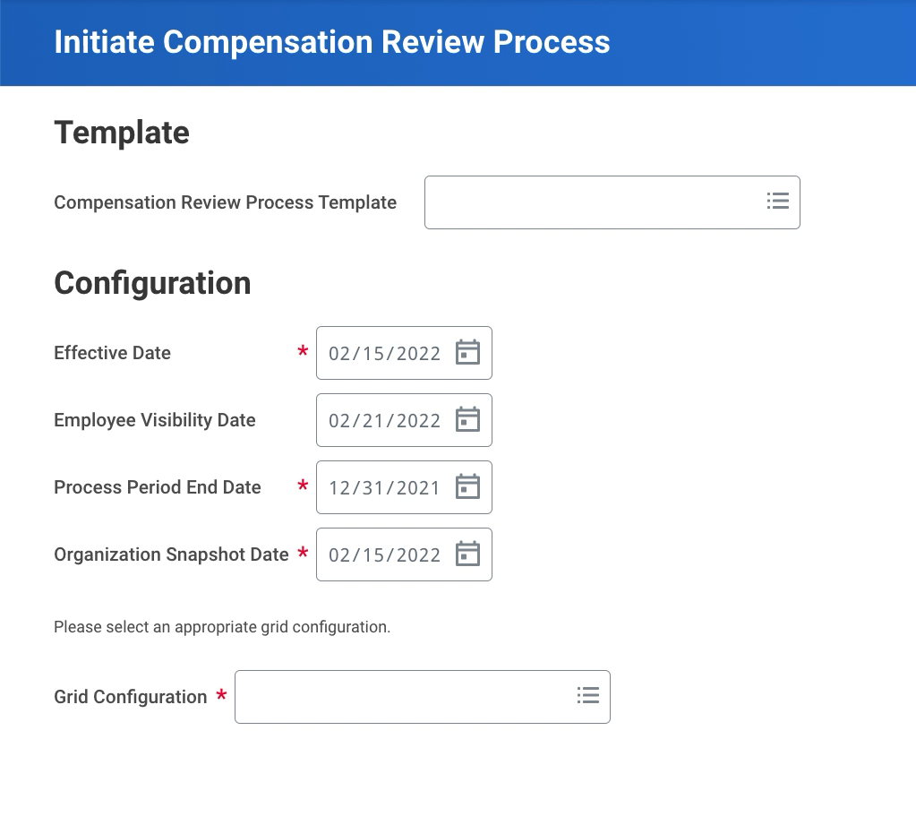 Workday Initiate Compensation Review Process Task
